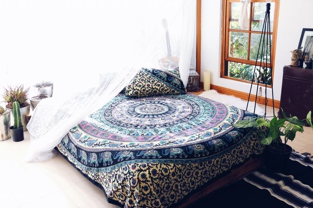 Queen Size Eephant Mandala Duvet Cover Throw Bedding Doona Cover Reversible Cotton Quilt Cover Indian Duvet Covers Set With 2 Pc Pillow Covers