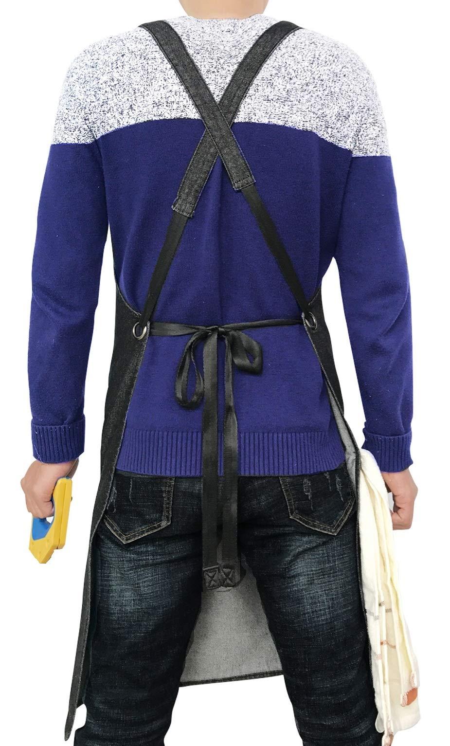 Heavy Duty Denim Jean Shop Work Apron Woodworking Aprons - 10 Tool Pockets | Towel Loop | Cross-back, Adjustable Unisex Utility Bib Apron Fits Men Women, M-XXL by Duo Bao Yu (Image #2)