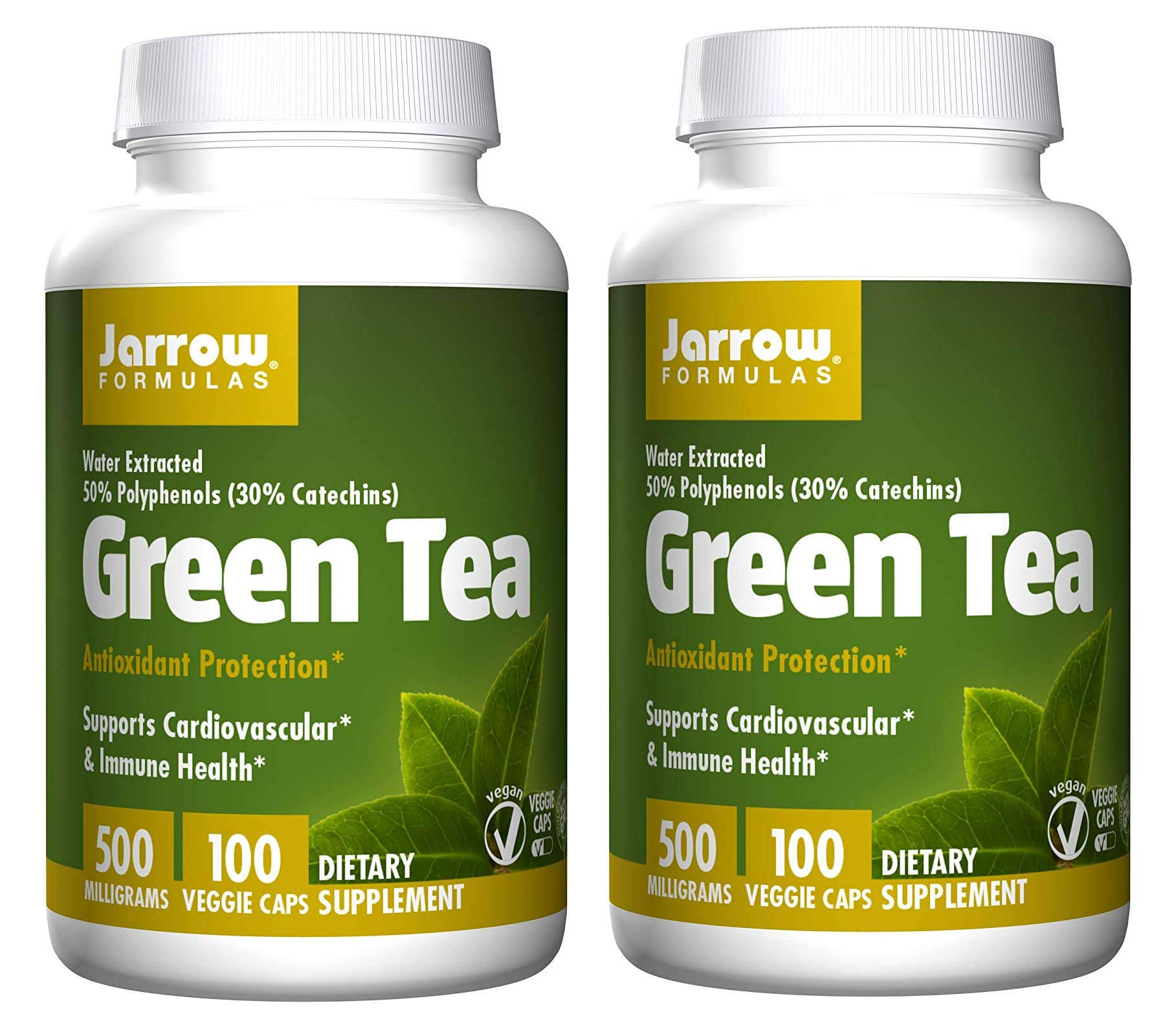 Jarrow Formulas Green Tea Antioxidant Protection Water Extracted 50% Polyphenols (30% Catechins) for Cardiovascular and Immune Health 500 Milligrams Per Serving (100 Veggie Caps) Pack of 2 by JARR0W
