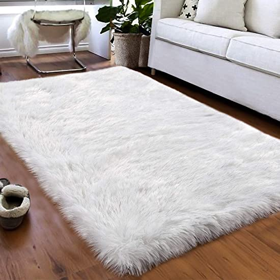 Softlife Faux Fur Sheepskin Area Rugs Shaggy Wool Rug