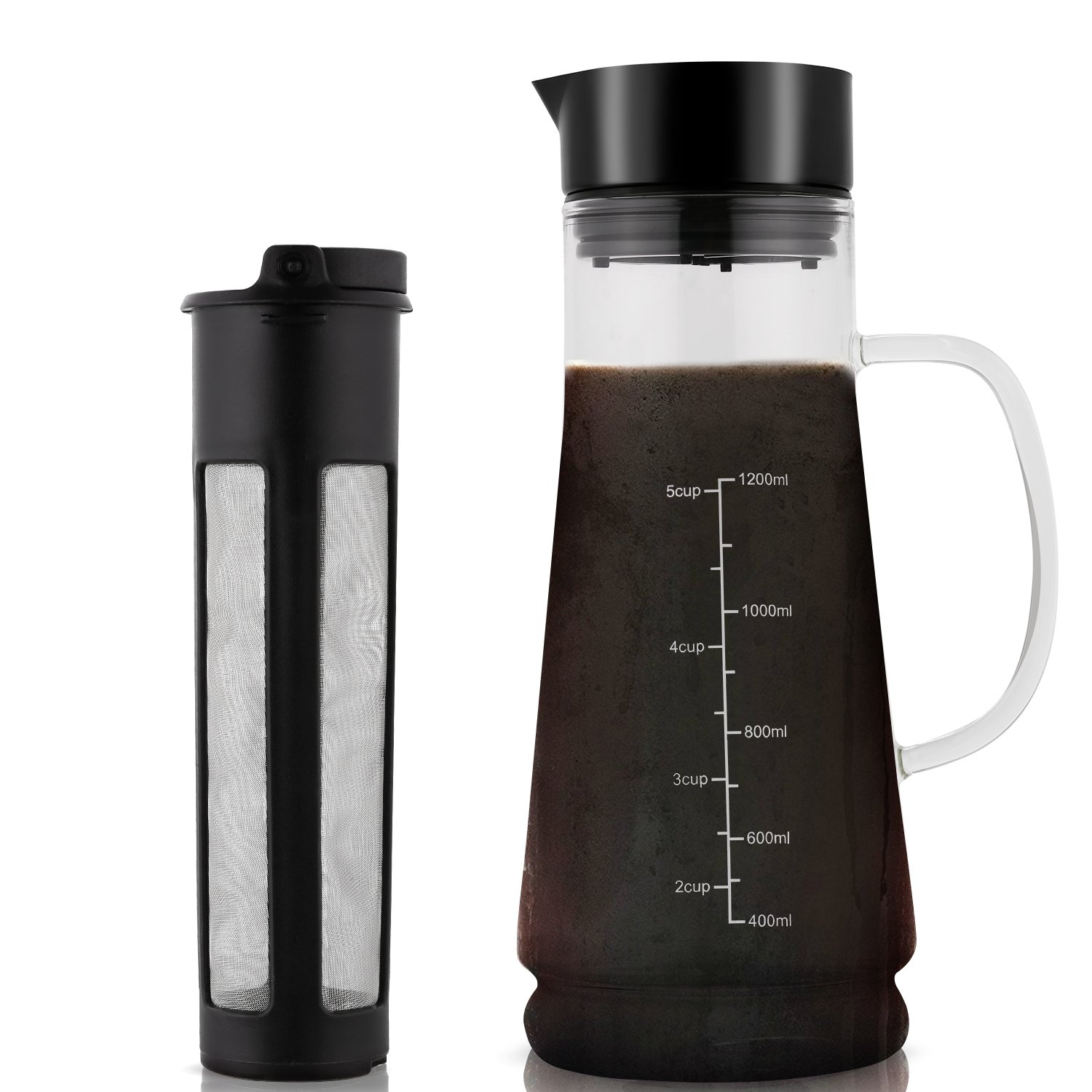 Cold Brew Coffee Maker Glass Iced Mizudashi 1200ml with Removable Stainless Steel Filter