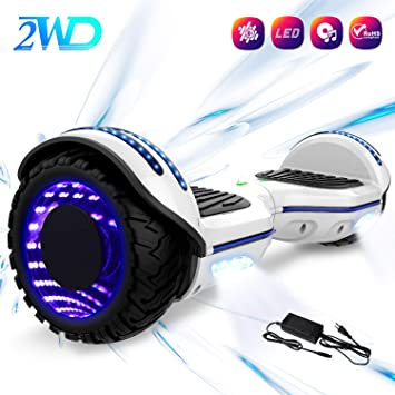 2WD Hoverboard 6.5 Scooter eléctrico Las Ruedas LED Luces Self Balance Scooter con Bluetooth