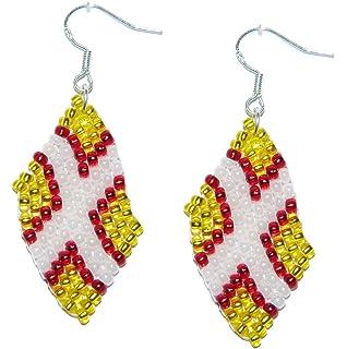 England St George cross Bead Flag Earrings - Handmade Bead Work Jewellery