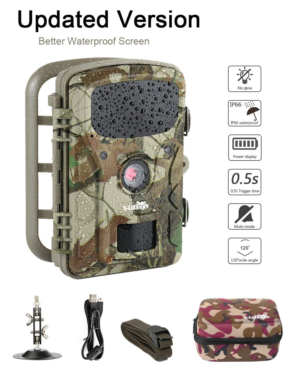 Game Trail Camera,2018 New Hunting Camera 1080P 12MP with 2.4in LCD Screen No Glow Black Infrared Night Vision 0.5s Trigger Speed IP66 Waterproof for Wildlife Hunting Monitoring and Farm Security X-Lounger