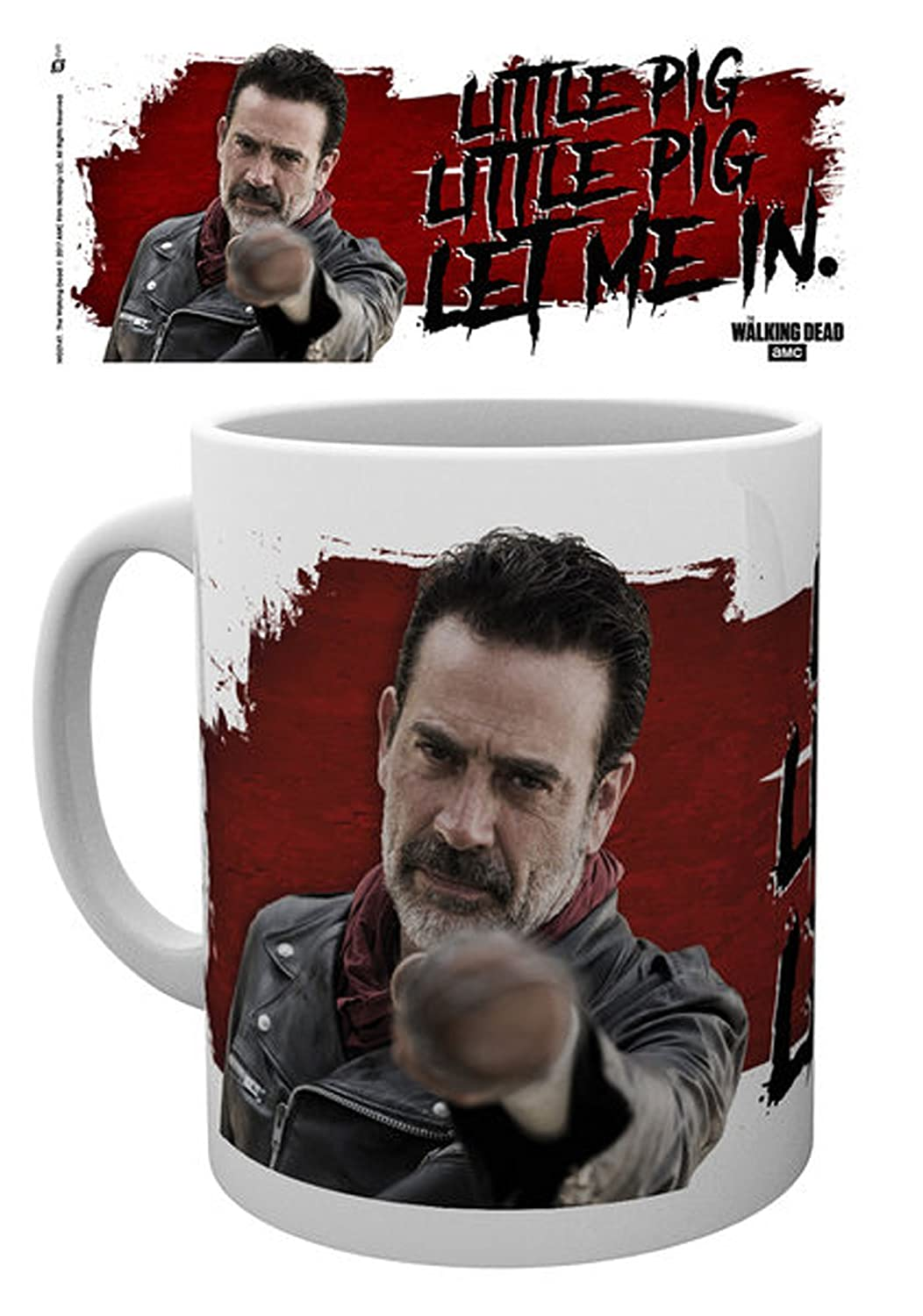 Empireposter – Walking Dead, The – NEGAN Little Pig Licensed Mug Size: Diameter Approx. 8.5 cm; Height: 9.5 cm, New – Description * Zombie Horror TV Series, Panoramic Print, Capacity 320 ml Ceramic Mug, White, Officially Licensed – Dishwasher and Microwav
