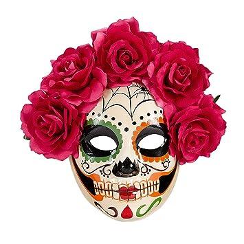 Careta esquelética La Catrina Máscara Sugar Skull con rosas rojas Antifaz el Día de los muertos