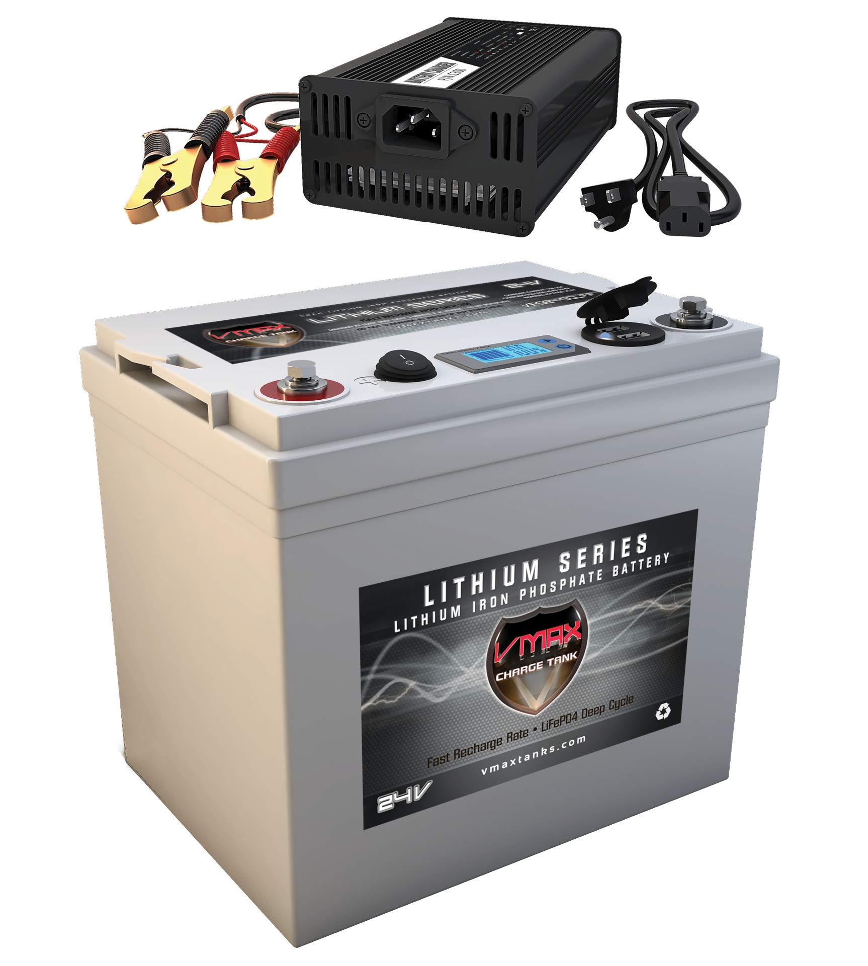 VMAX VPG24C-50LFP for 24 Volt Battery for DC Power Supply 24V 50Ah LiFePo4 Battery + Charger: Lithium-Iron Phosphate Battery w/BMS, USB Outputs, LCD Display (24V 50Ah LiFePo4, Weighs 21lbs) by VMAXTANKS (Image #1)