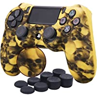 YoRHa Water Transfer Printing Skull Silicone Cover Skin Case for Sony PS4/slim/Pro Dualshock 4 Controller x 1(yellow) With Pro thumb grips x 8