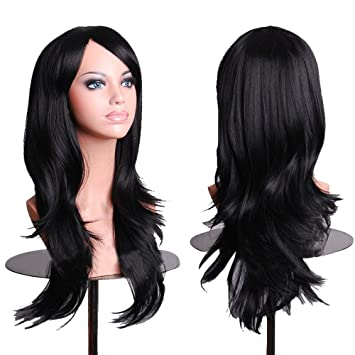 AneShe Women Costume Black Wigs Long Hair Cosplay Wig Spiral Curly Wavy Wigs for Cosplay Party Black