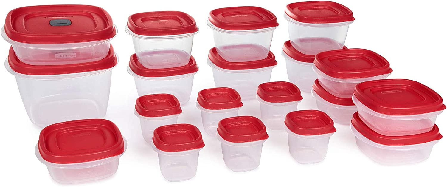 Easy Find Vented Lids Food Storage Containers Set of 19 (38 Pieces Total) Plastic Containers | Reusable and Stackable Meal Prep Containers - Teal (Red)