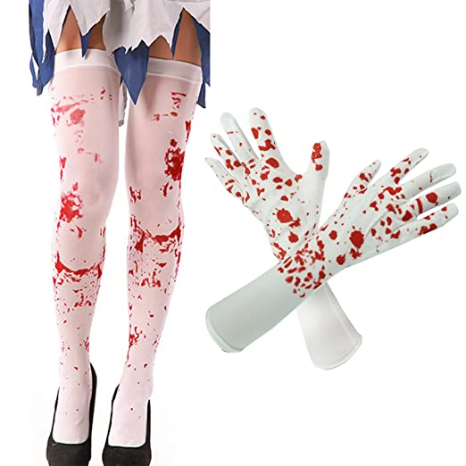 ce78ac3b3eea7 Image Unavailable. Image not available for. Color: Hraindrop Women's Blood  Stained White Stockings And Blood Splattered Gloves for Halloween ...