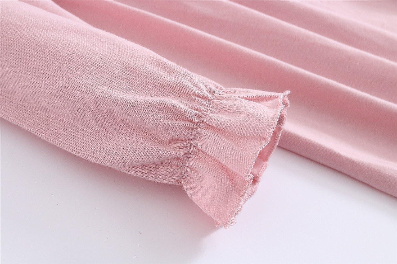 489513de64e3 Abalacoco Girls Kids Princess Lace Nightgown Long Sleeve Cotton Sleepwear  Dress Pretty V-Neck Loose