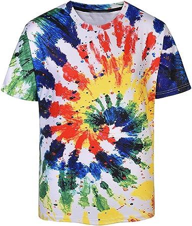 Cinnamou Camisetas Hombre Manga Corta Basica, Camiseta de la 3D Impresión de la Moda Camisetas de Cosas extrañas Camisa de Manga Corta Camiseta Blusa (Color A, XL Busto: 117 cm / 46.1
