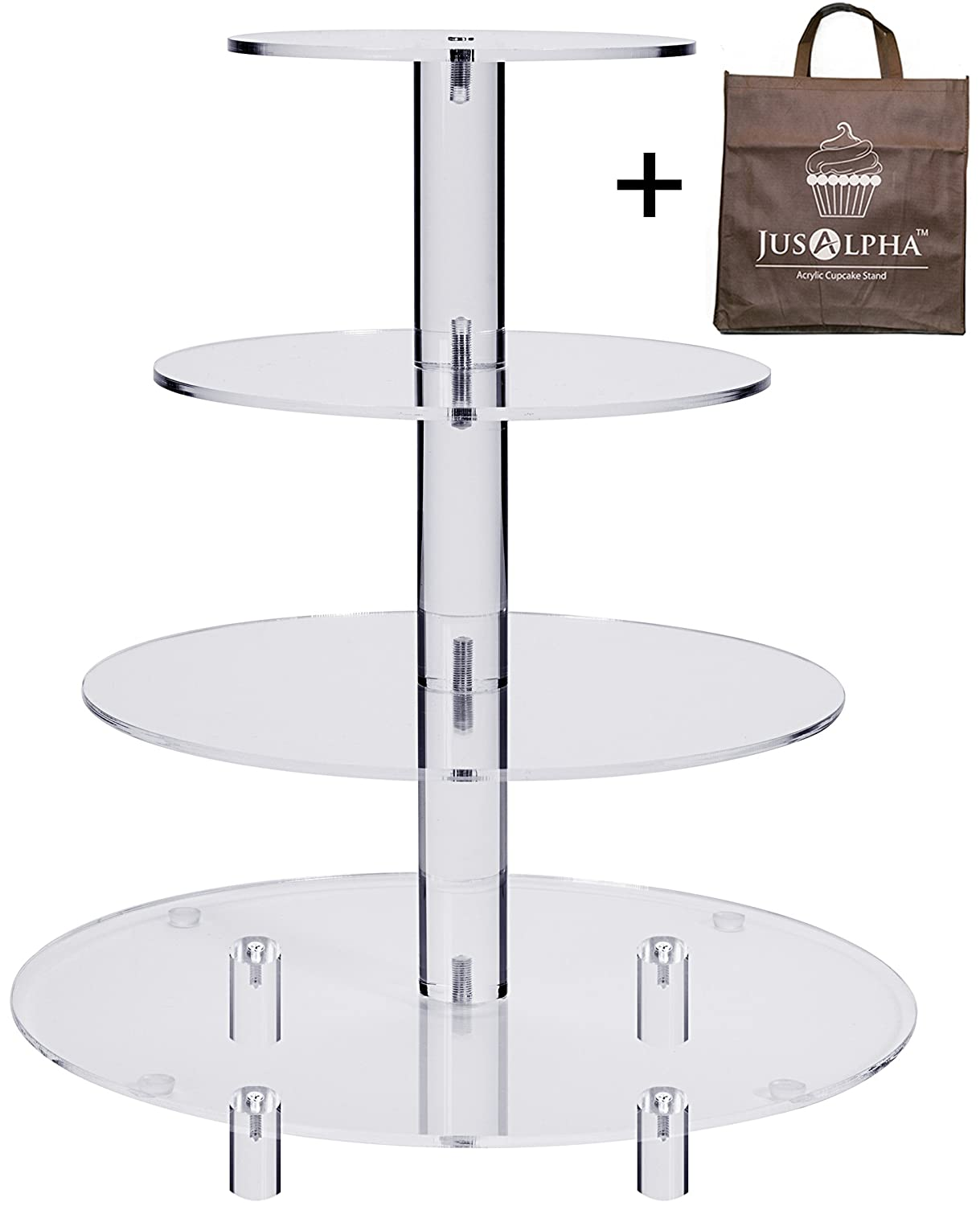 Jusalpha 4 Tier Acrylic Glass Round Cake Stand-cupcake Stand- Dessert Stand-tea Party Serving Platter for Wedding Party(4TR) (With Rod Feet)