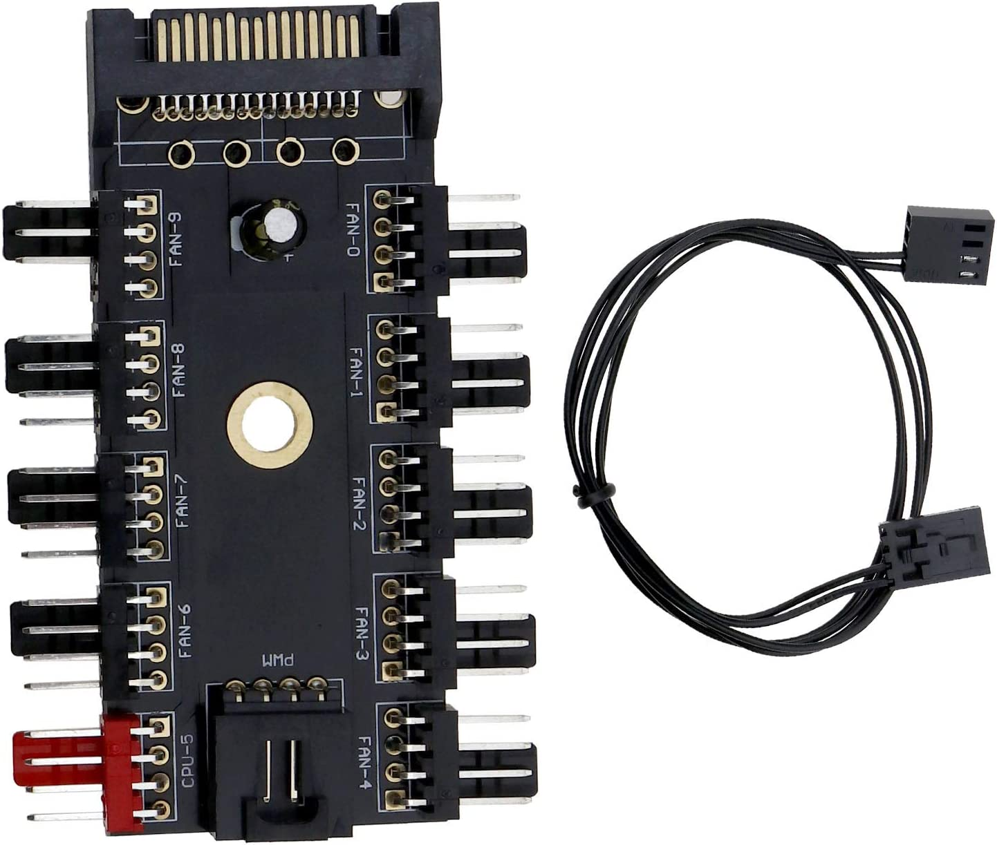 BIYM - 1 x 2 x 4 Pines, Ventilador de refrigeración, Soporte de Controlador de Velocidad de 0 vías, Conector PWM de Canal chasis de 4 Pines para PC Hub Piezas de Repuesto para Ordenador, 1