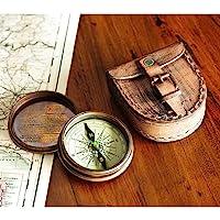 Wind & Weer antieke messing gedicht kompas met lederen hoesje
