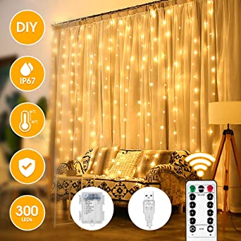 IP65 Wasserdicht LED Lichtervorhang f/ür Party Hochzeit Weihnachten USB /& Batteriebetrieben LED Fenster Vorhang mit 8 Modi Fernbedienung 300LEDs Lichterketten Vorhang Licht LED Lichtervorhang 3M*3M