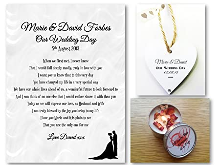 Personalised Wedding Romantic Scroll Gift Set - On Our Wedding Day ...