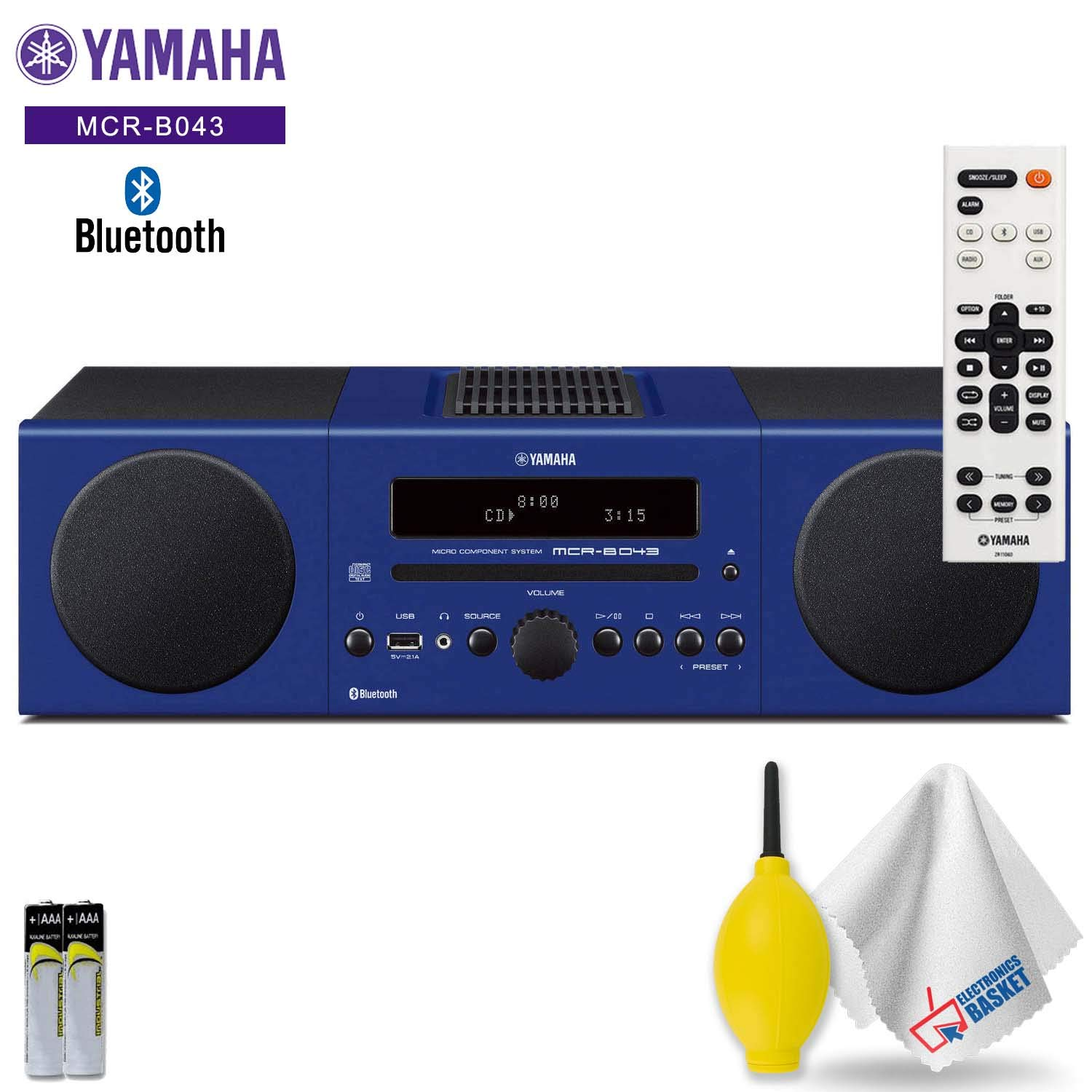 Yamaha MCR-B043 30W Bluetooth Wireless Music System (Racing Blue) Accessory Kit - Includes - Cleaning Kit by Electronics Basket