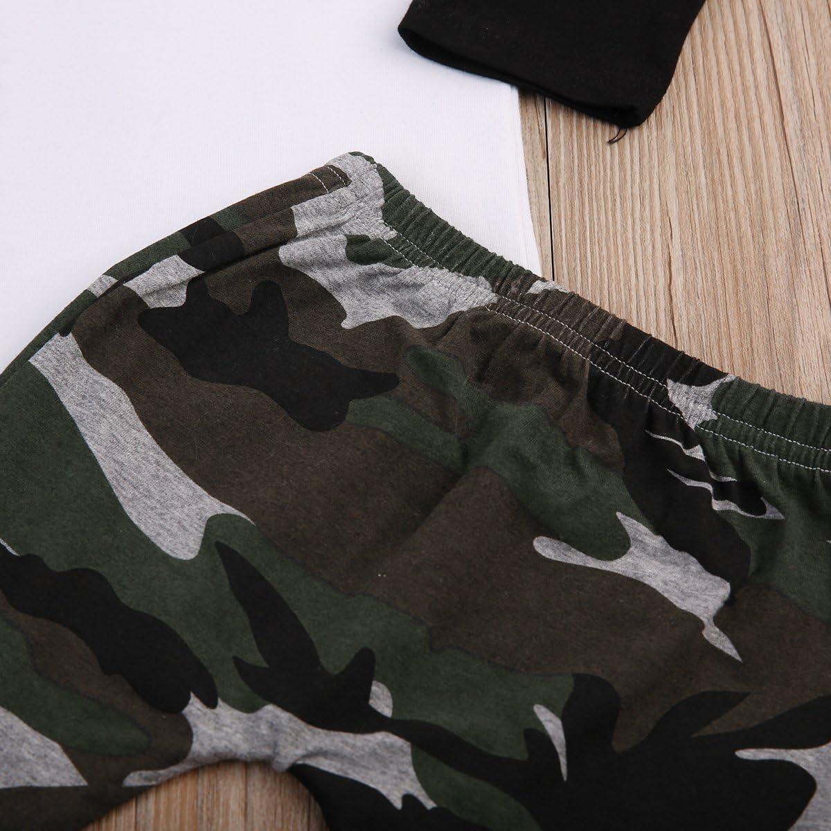 2Pcs//Set Infant Baby Boys Arrow T-shirt Tops+Camouflage Pants