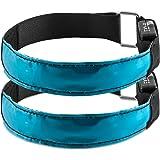 kwmobile 2x LED Leucht Armband - XL Sicherheitsband für Outdoor Sport Joggen Fahrrad Hundehalsband helles Blinklicht reflektierend bei Dunkelheit - verschiedene Farben