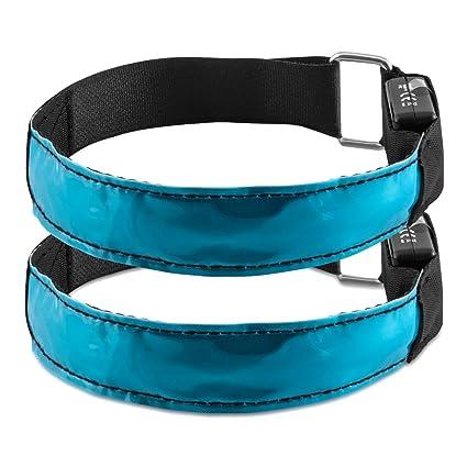 kwmobile 2X Pulsera Reflectante LED - Brazalete Reflectante XL para Correr Trotar Hacer Ciclismo etc - Cintas con Luces en Azul