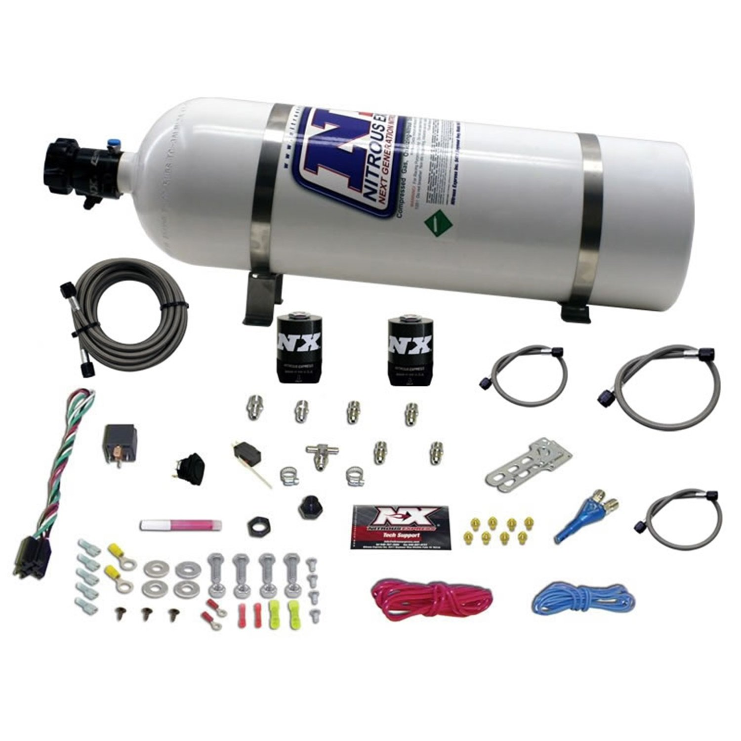 Nitrous Express 20923-15 35-75 HP Sport Compact EFI Single Nozzle System with 15 lbs. Bottle by Nitrous Express