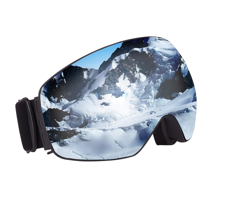 SLTY スキーゴーグル OTG 曇り止め 冬 スノーボード ゴーグル スノーモービル 防風 防塵 メガネ UV保護 滑り止めストラップ アイウェア オートバイ サイクリング 眼鏡 メンズ レディース 黒 Frame 銀 Lens VLT 25% 7.1 inches(l) x 3.9 inches(w) x 3.7 inch(h)
