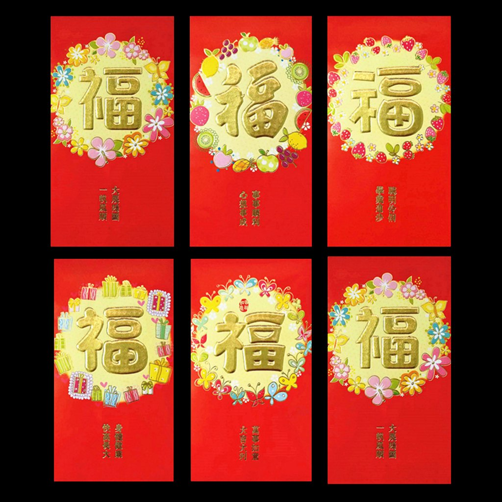 Hardli Chinese Red Envelope to Fill in Money,Chinese Tradition Hongbao Gift Present(6pcs)