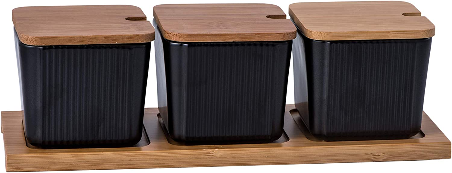 Bruntmor 3 Pcs Kitchen Canister Set, Coffee, Sugar, and Tea Storage Container Jars, Ceramic Condiment Jar Spice Container with Bamboo Lid And Spoons, Black