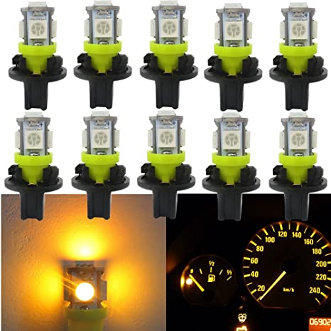 WLJH 10pcs PC194 Bombilla LED 168 2825 Amarillo 5-5050SMD Juego de bombillas LED Tablero