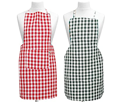 Kuber Industries Checkered Cotton 2 Piece Kitchen Apron with Front Pocket Set - Multicolour