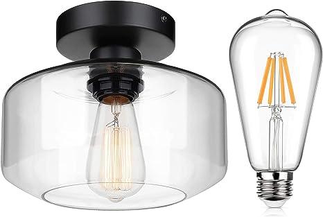 Industrial Semi Flush Mount Ceiling Light Clear Glass Black Light Fixture Bundle 6w St64 Led Edison Bulb Dimmable Warm White 2700k 800lm Amazon Com