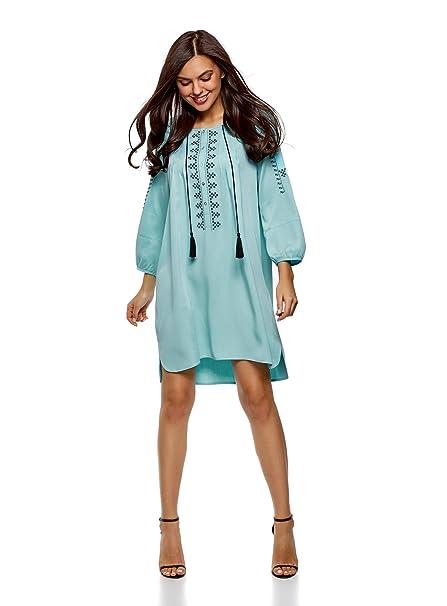 oodji Collection Mujer Vestido de Viscosa con Bordado y Lazos Decorativos, Turquesa, ES 36