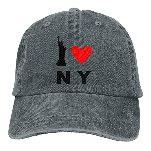 1c637d536f8 Image Unavailable. Image not available for. Color  Cool I Love NY Denim  Cotton Baseball Caps Fitted Running Ball Custom Hat for Men Women