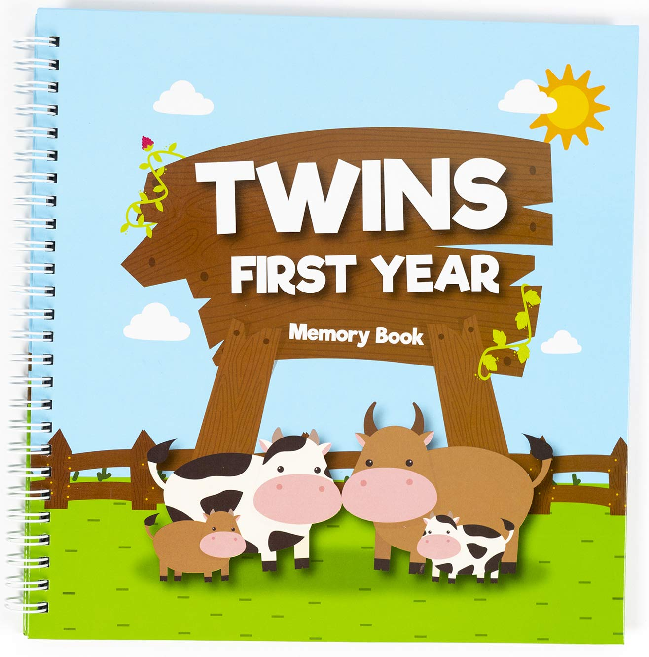 Great Newborn Twins by Unconditional Rosie - A Beautiful Baby Memory Book for Documenting Your Twin Baby's First Year - Perfect Gift for Moms Having 2 Babies. Gorgeous Baby Twin Gifts - Cows Edition.