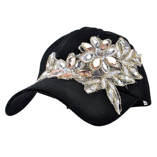 0b142670feb4c Elonmo Lace Flower Bling Rhinestone Hat