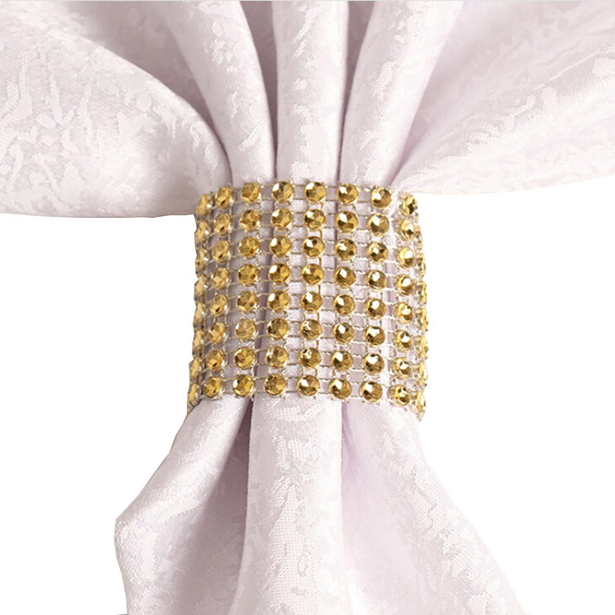 Yuengs 100 PCS Napkin Rings Sparkly Adornment for Wedding/Shower / Party – Velcro Napkins wrap (Gold)
