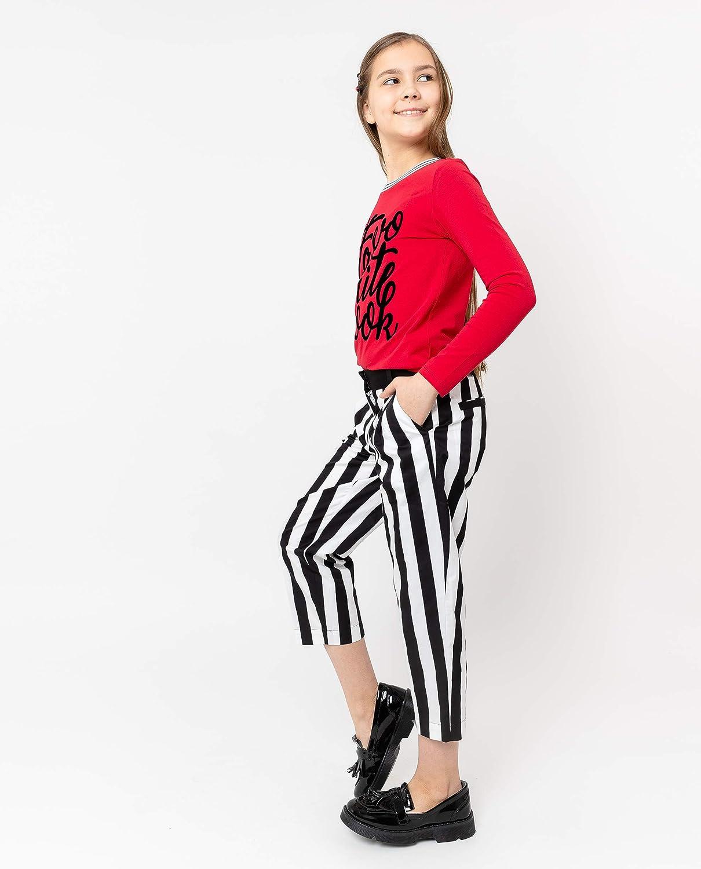 GULLIVER pantaloni da ragazza per bambini nero bianco a righe dritto 8 13 anni 134 164 cm