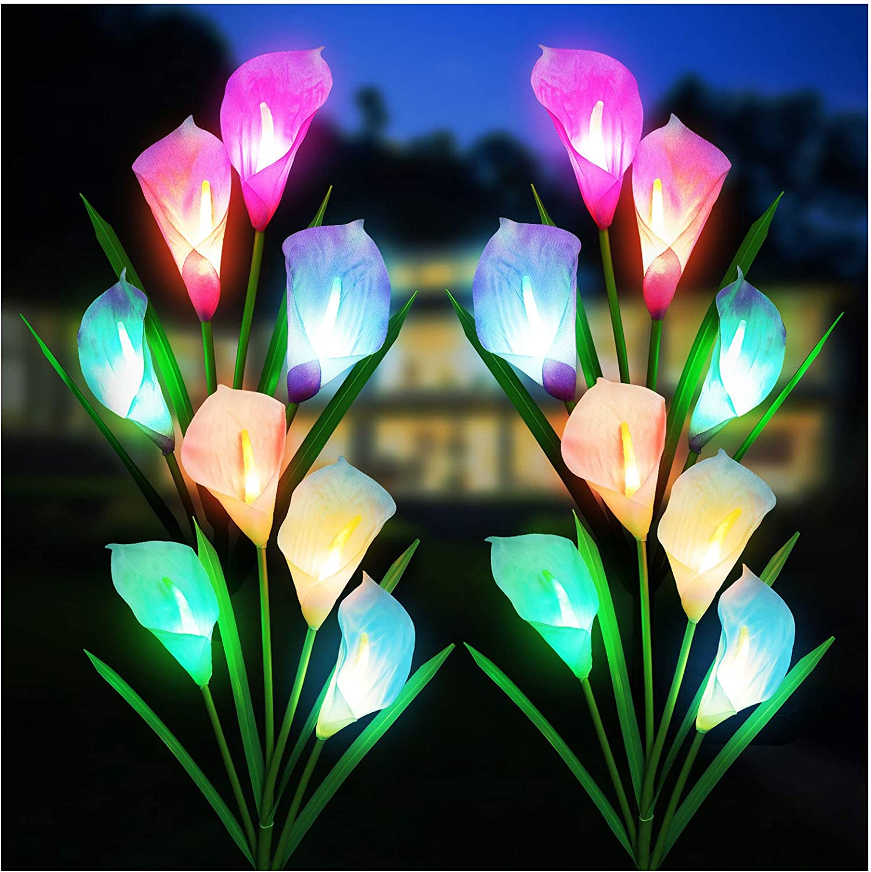 Solar Lights Outdoor Decorative, KOOPER 4 Pack Solar Garden Lights with 16 Calla Flowers 7 Color Changing LED Soalr Powered Outdoor Lights, Waterproof Solar Lights for Garden Patio Yard Decoration
