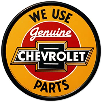 vintage chevrolet sign. chevrolet chevy genuine parts round retro vintage tin sign