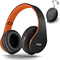 Bluetooth Over-Ear Headphones, Zihnic Foldable Wireless and Wired Stereo Headset Micro SD/TF, FM for iPhone/Samsung/iPad/PC/TV,Soft Earmuffs &Light Weight for Prolonged Wearing (Black-Orange)