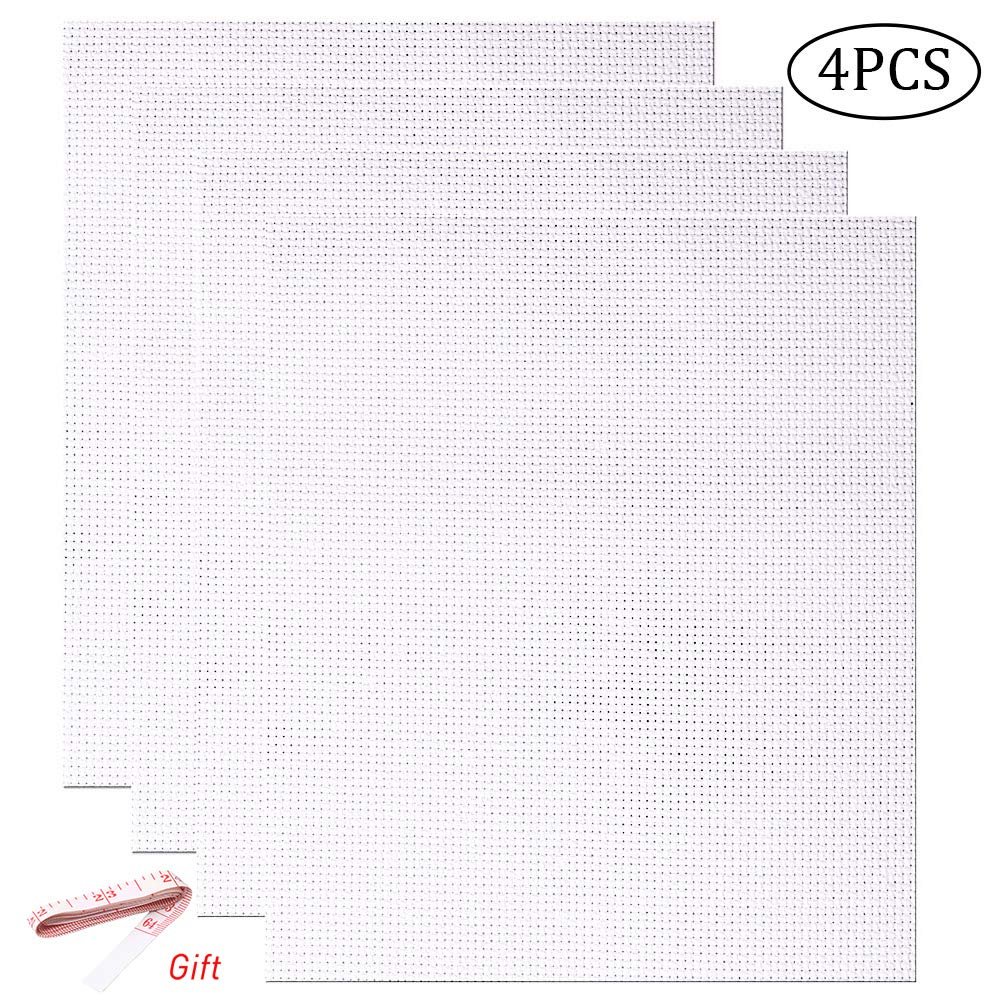 4 PCS 14 Count White Classic Reserve Aida Cloth Cross Stitch Cloth 12 by 18 Inch