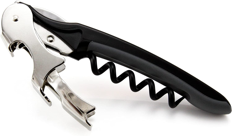 Oaoa Design SMARTPULL Sacacorchos con doble palanca, climáticamente neutro, sacacorchos de camarero, incluye cuchilla, abrebotellas y tirador en espiral extra largo y con revestimiento de teflón, para
