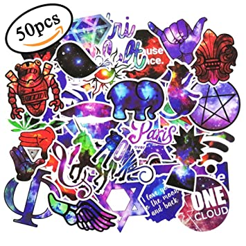 50 pcs galaxycool sticker for laptop car motorcycle luggage helmet graffiti bomb vinyl