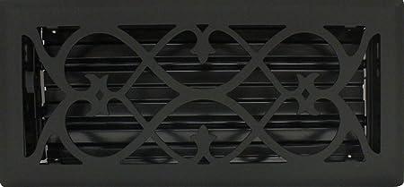 """4/"""" x 12/"""" Steel Flat Black Victorian Floor Register"""