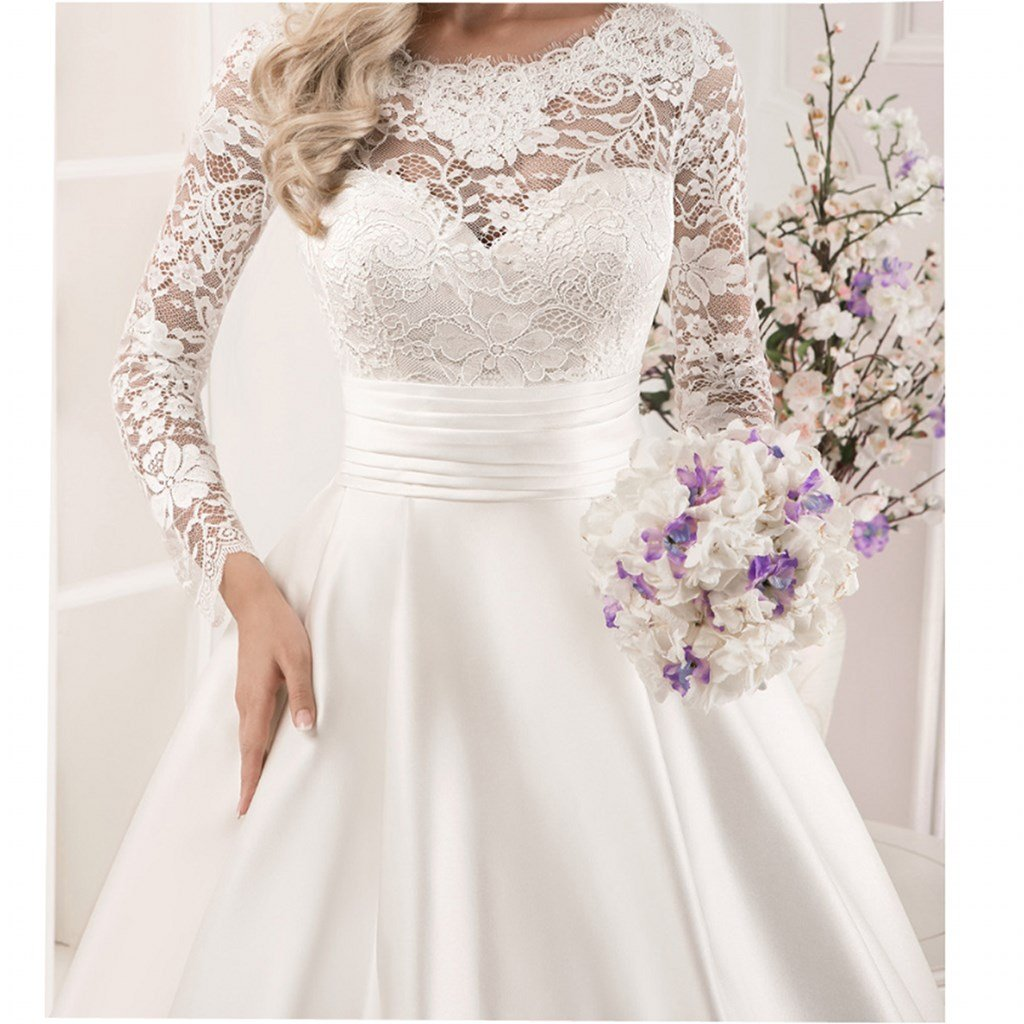 Chady Womens Lace Long Sleeve Ball Gowns Wedding Dresses 2018 Satin Bridal Gowns