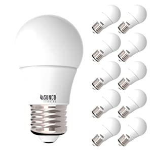 Sunco Lighting 10 Pack A15 LED Bulb, 8W=60W, 4000K Cool White, Dimmable, 800 LM, E26 Base, Indoor/Outdoor Light - UL, Energy Star