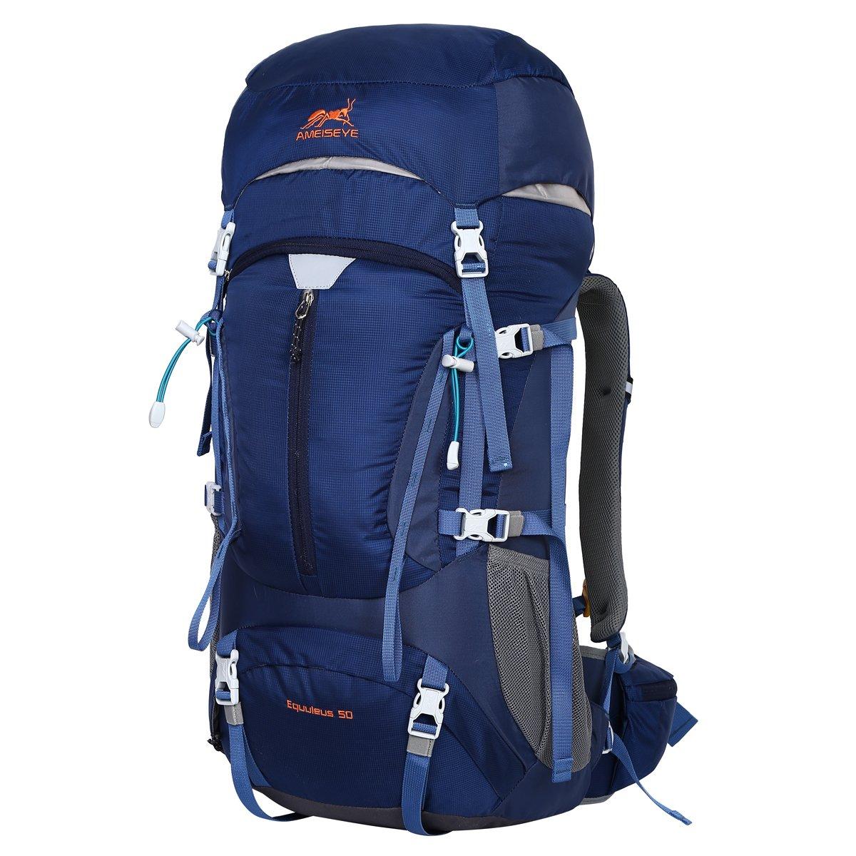 Eshow 50L Mochilas de Acampada Multifuncional Mochilas de Senderismo de Nailon Impermeable Mochilas de Montaña para Viajes de Unisex Color Azul: Amazon.es: ...