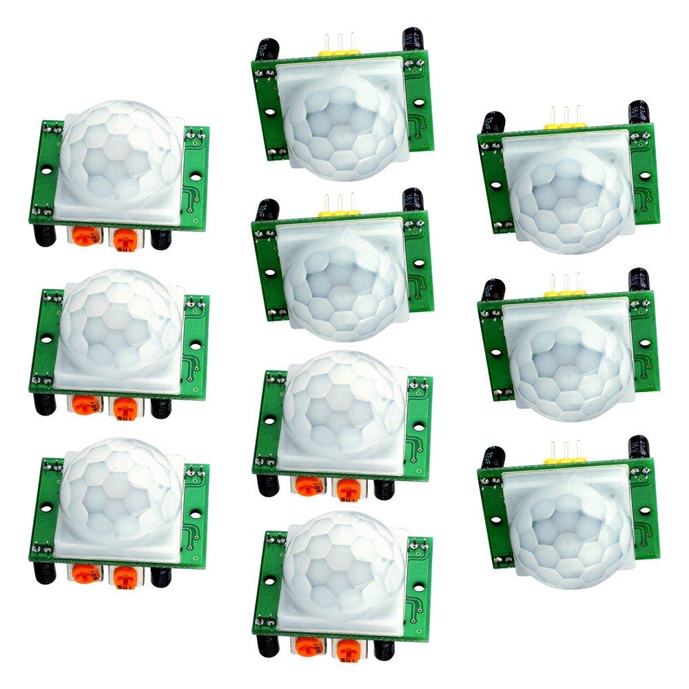 Piroeléctrico infrarrojo PIR sensor de movimiento módulo, longruner 10 x HC-SR501 Humano Módulo de sensor piroeléctrico infrarrojo PIR sensor de movimiento ...